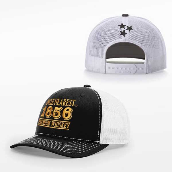 Black panel trucker hat with white mesh and UN 1856 logo on front